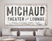 Modern Farmhouse Wall Decor Family Theater Lounge Sign, Personalized Last Name Sign Living Room, Vintage Industrial Wall Art Game Movie Room