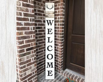 Welcome Porch Sign Vertical Porch Sign Wooden Welcome Sign