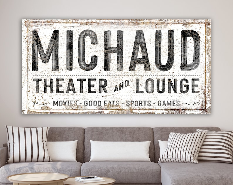 Modern Farmhouse Wall Decor Family Theater Lounge Sign image 0