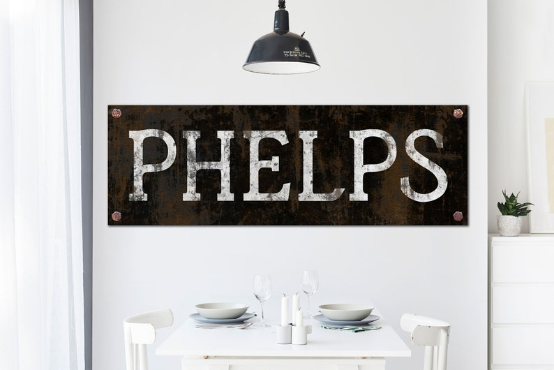 Industrial Farmhouse Wall Decor Faux Metal Last Name Sign image 0