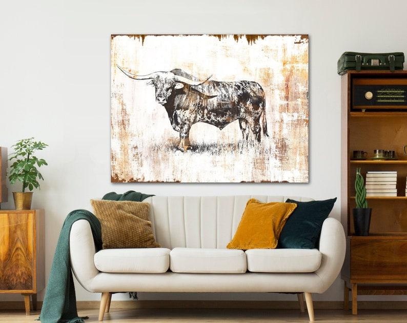 Modern Farmhouse Wall Decor Texas Longhorn Cattle Sign image 0