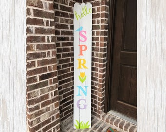 Spring Decor, Rustic Spring Decor, Happy Spring Sign, Primitive Spring Sign, Rustic Spring Sign, Primitive Spring Decor, Colorful Sign