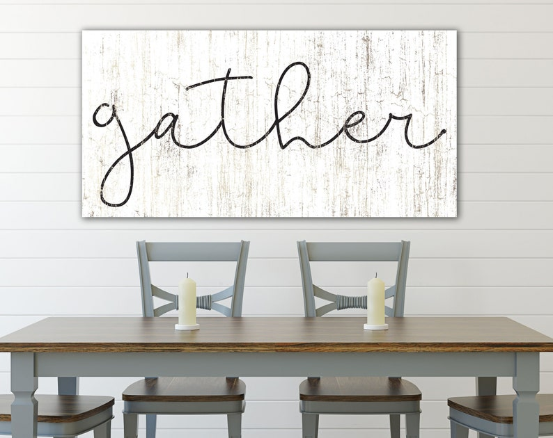 Modern Farmhouse Large Gather Sign Rustic Wall Decor for Fall image 0