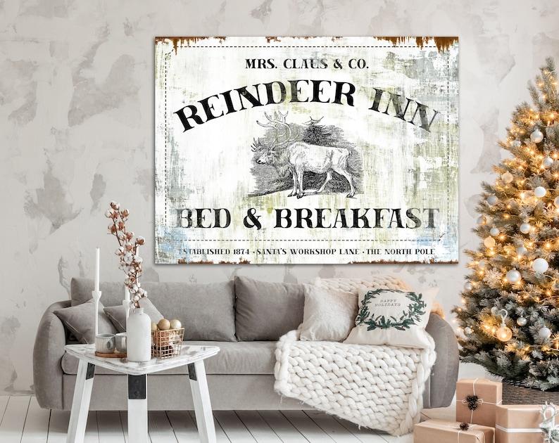 Rustic Christmas Sign Reindeer Inn Bed & Breakfast Sign image 0