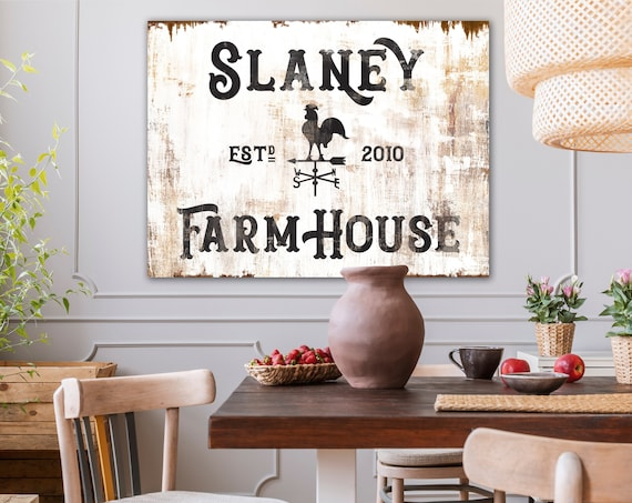 Custom Family Sign Vintage Country Farmhouse Decor Large Rustic Living Room Wall Decor Last Name Sign Established Farm House Home Sign
