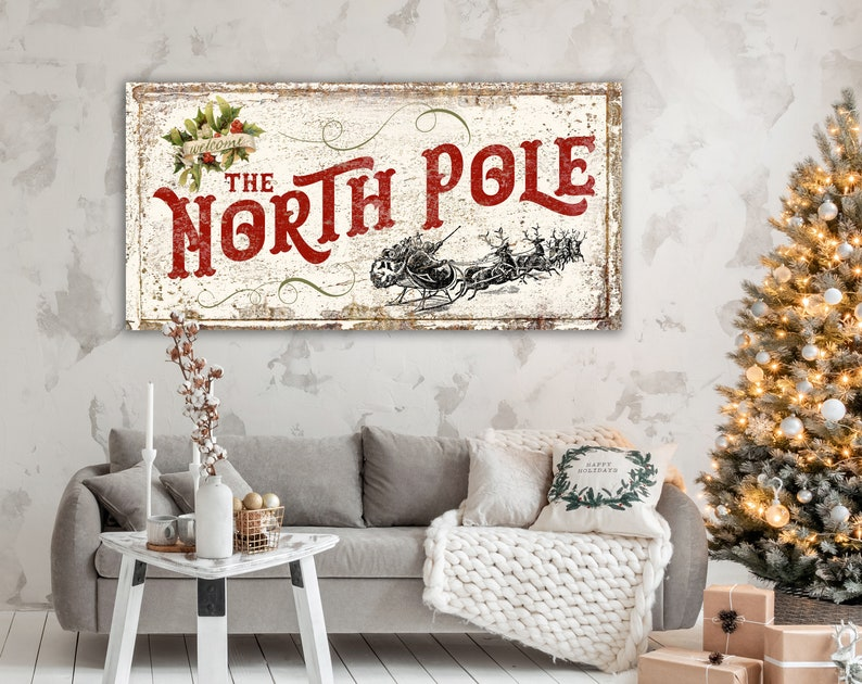 Holiday Decor Victorian Christmas Sign North Pole French image 0