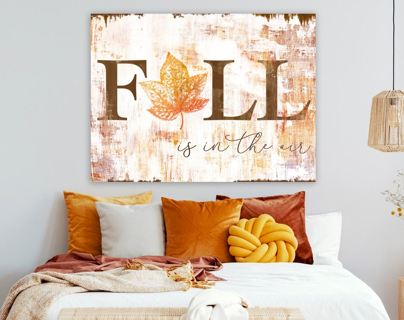 Rustic Fall Sign Fall is in the Air Modern Farmhouse Wall image 0