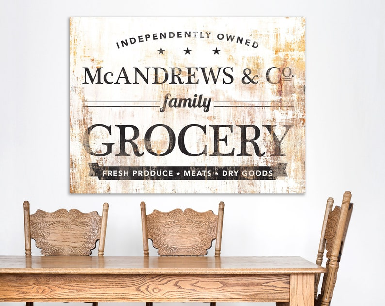 Rustic Kitchen Decor Last Name Sign Industrial Vintage Wall image 0