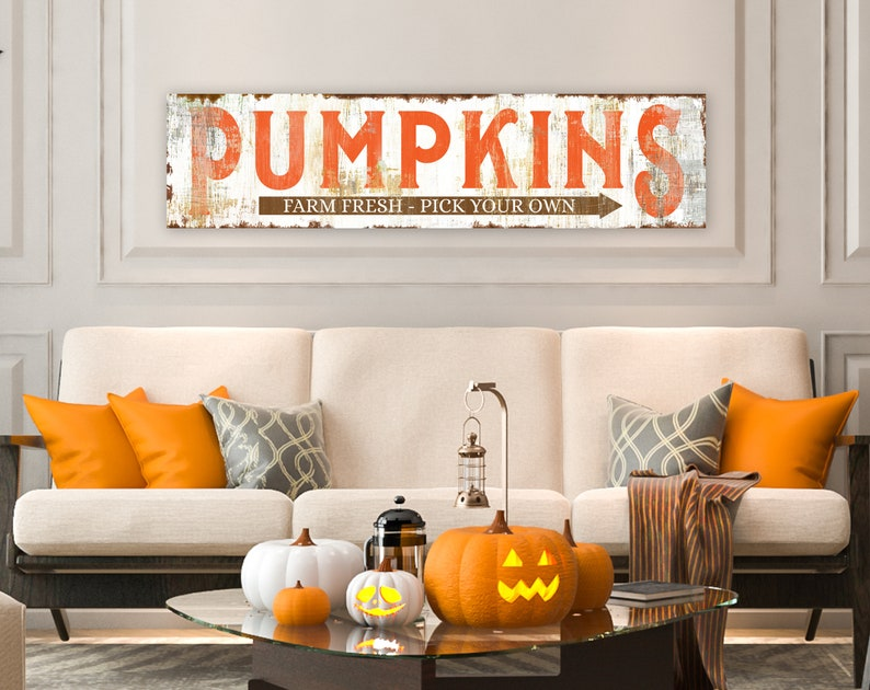 Fall Farmhouse Wall Decor Rustic Pumpkin Sign for Autumn Home image 0