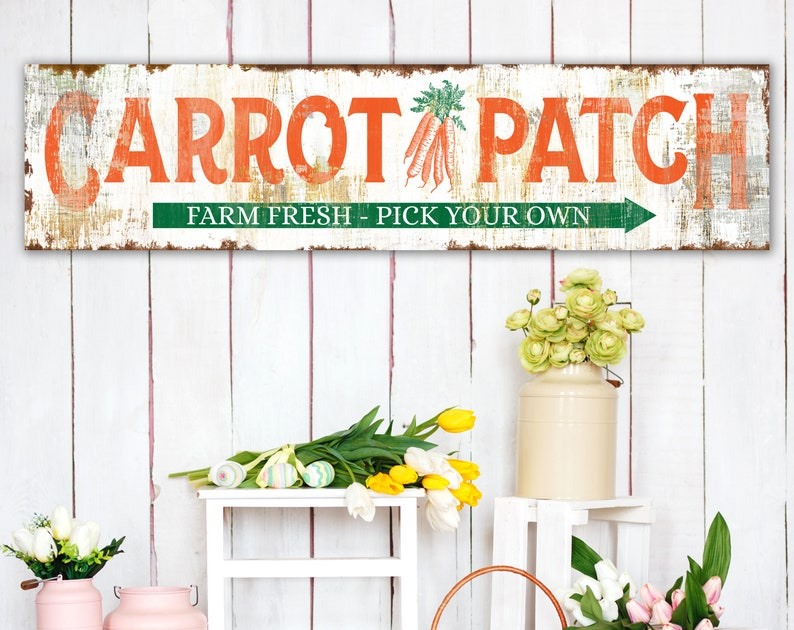 Spring Farmhouse Wall Decor Carrot Patch Easter Sign Rustic image 0