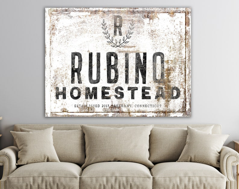 Custom Family Name Sign Modern Vintage Decor Large Rustic image 0