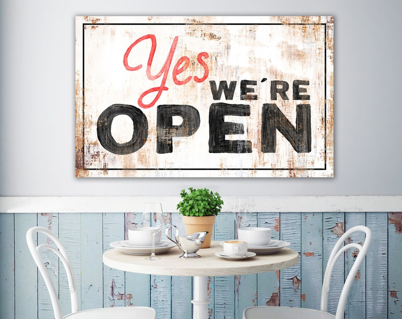 Large Vintage Yes We're Open Sign Industrial Modern image 0