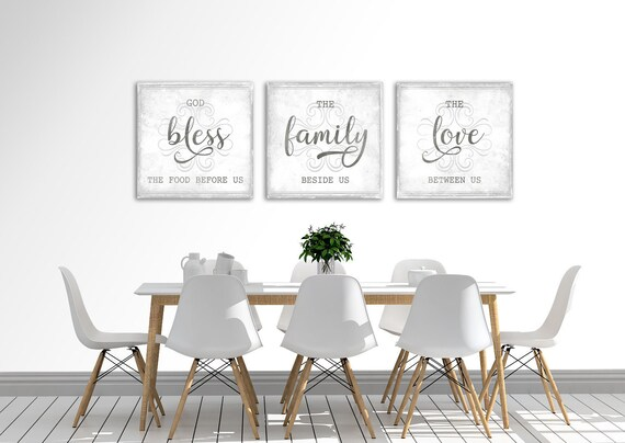 Modern Farmhouse Wall Decor Dining Room Bless The Food Before Etsy