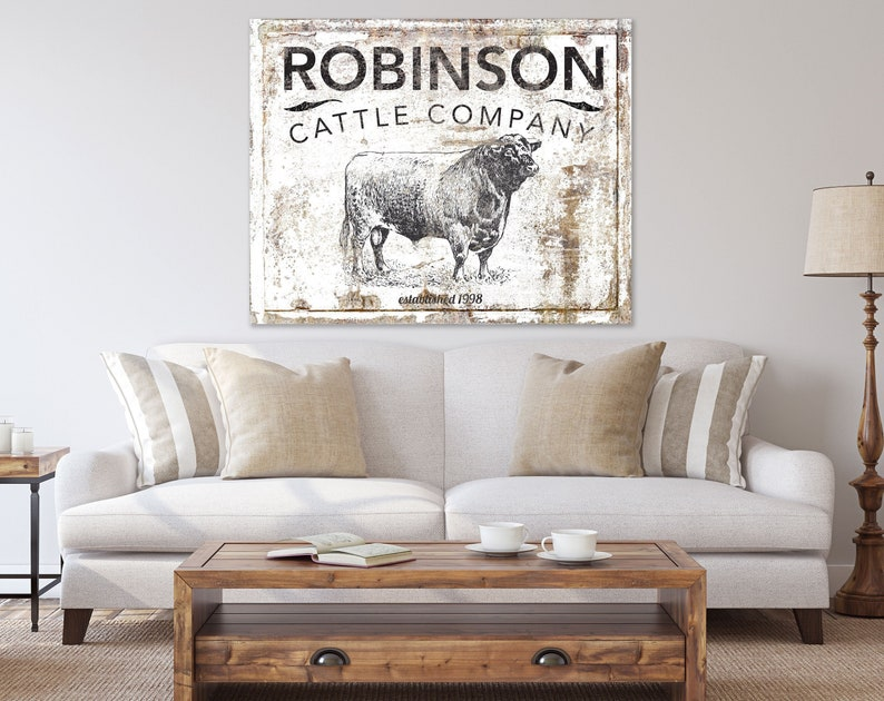 Modern Farmhouse Wall Decor Cattle Company Last Name Family image 0