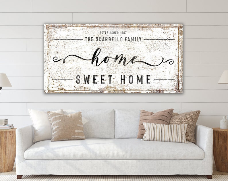Large Rustic Canvas Art Print Farmhouse Wall Decor Living Room Last Name Sign Canvas Home Sweet Home Family Name Sign Modern Vintage Decor
