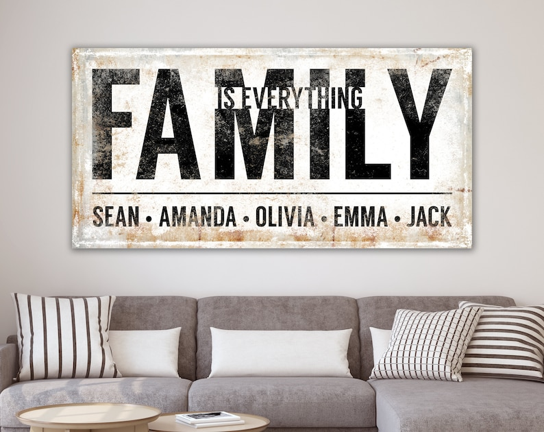 Personalized Family Sign Modern Farmhouse Wall Decor Family image 0