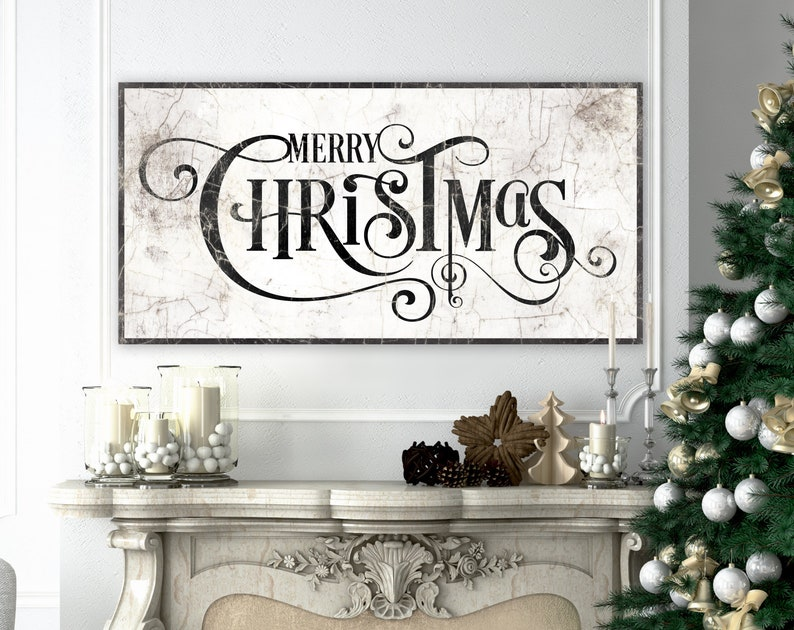 Large Merry Christmas Sign French Country Christmas Decor image 0