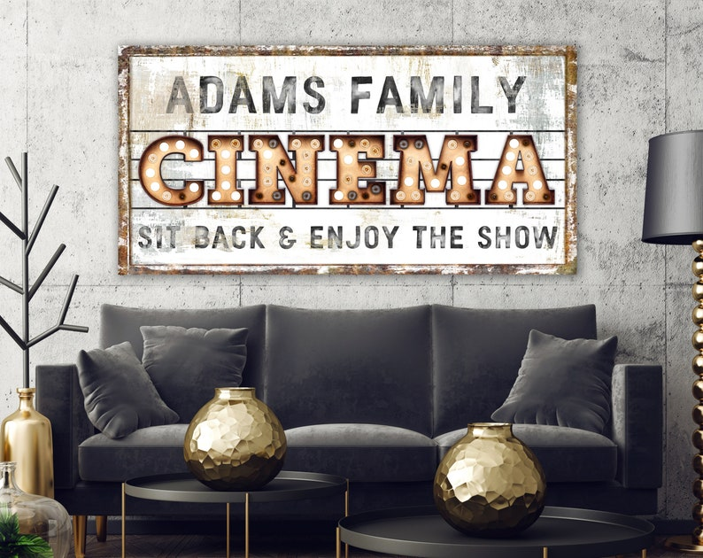 Family Cinema Sign Modern Industrial Wall Decor Personalized image 0