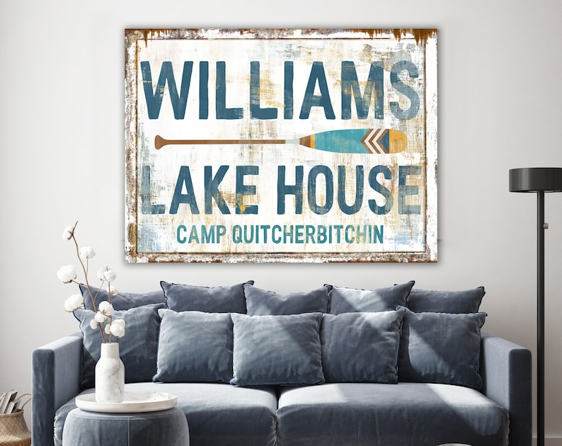 Lake House Rustic Wall Decor Personalized Family Sign Lodge image 0