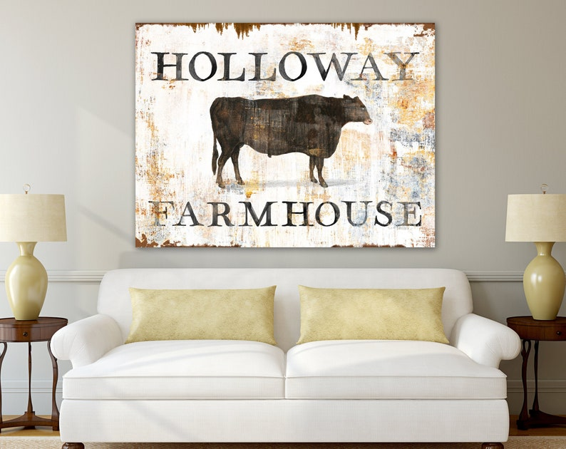 Rustic Chic Home Decor Vintage Cattle Family Name Sign image 0