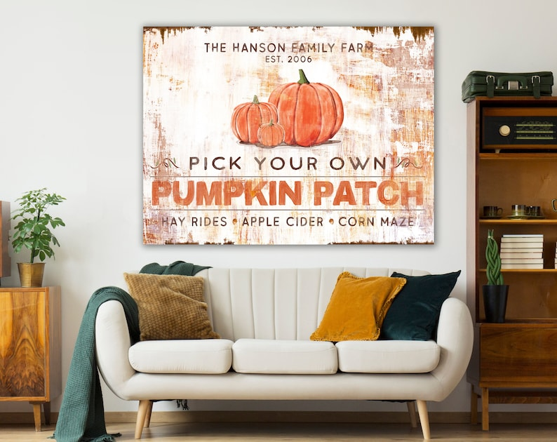 Pumpkin Patch Rustic Fall Sign Modern Farmhouse Wall Decor image 0