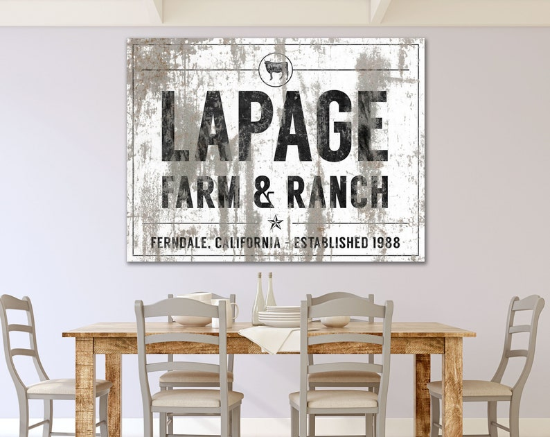 Country Western Decor Cattle Farm Sign Personalized Farm & image 0