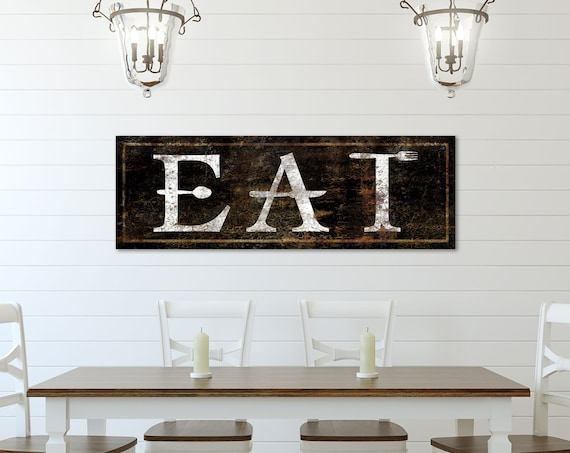 Rustic Kitchen Wall Decor Faux Metal Rusty Eat Sign Vintage Modern Farmhouse Art Print Large Dining Room Wall Sign Chef Foodie Gift