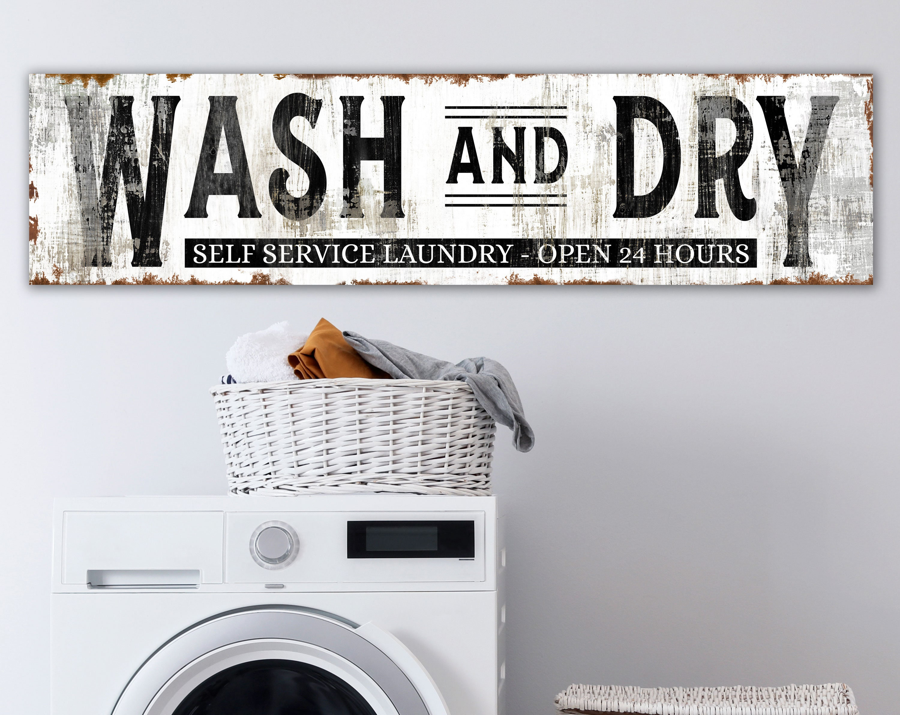 rustic home decor Modern Farmhouse wall Decor Vintage Style Laundry Sign Sign for laundry room 25x13 framed wood sign