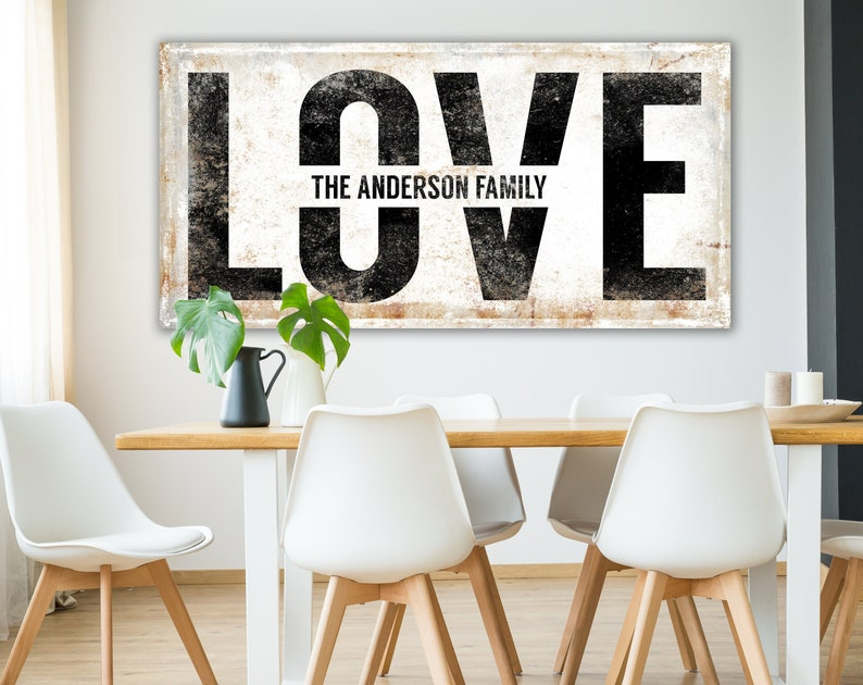 Graphic Typography Personalized Love Sign Vintage Farmhouse image 0