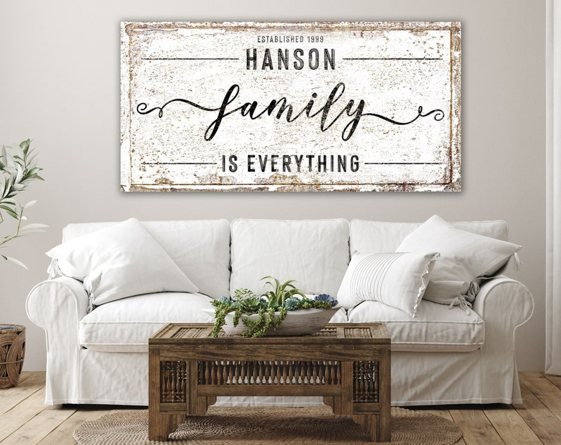 Family Is Everything Last Name Sign Modern Farmhouse Wall image 0