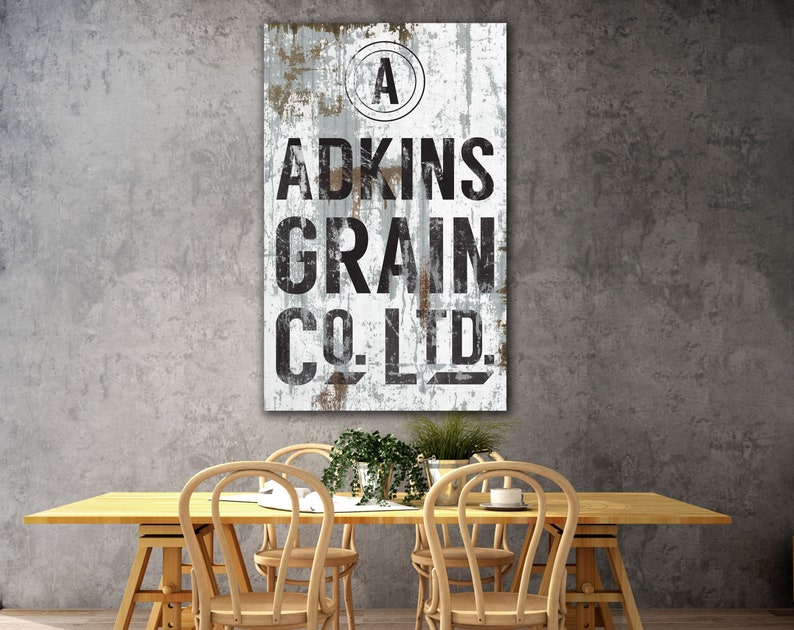 Personalized Industrial Farmhouse Family Grain Sign Modern image 0