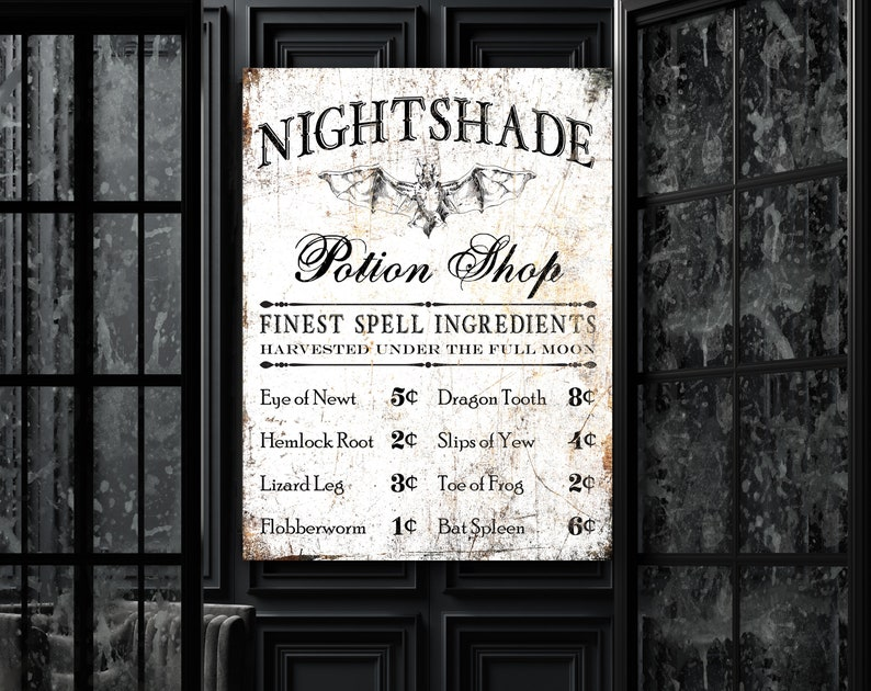 Spooky Halloween Wall Decor Nightshade Bat Potion Shop Fall image 0