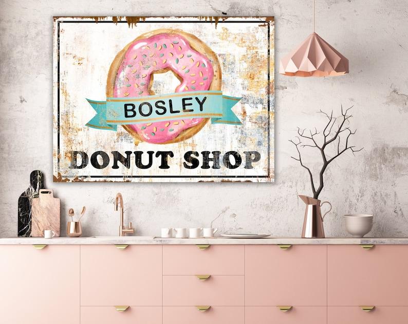 Personalized Donut Sign Vintage Farmhouse Wall Decor Retro image 0