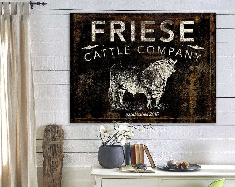 Modern Farmhouse Wall Decor Cattle Company Last Name Family image 0