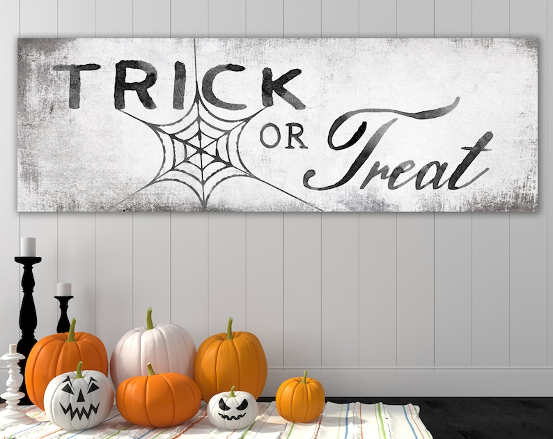 Shabby Rustic Trick or Treat Halloween Sign Black & White image 0