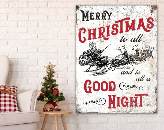 Merry Christmas To All.Merry Christmas To All Classic Red Traditional Christmas Wall Decor Vintage Santa Sleigh With Reindeer Winter Holiday Art Print Large Sign