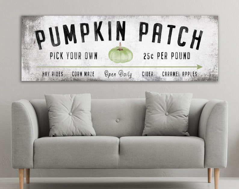 Vintage Modern Farmhouse Fall Decor Rustic Pumpkin Patch Sign image 0