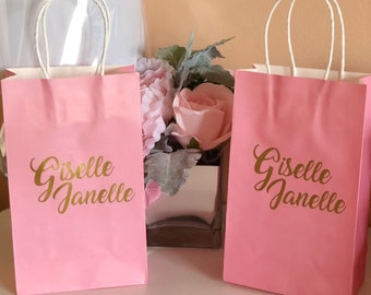 Pink gift bags bridesmaid gift bags bridesmaid gift bag Bridesmaid proposal  Personalized gift bags bridesmaid gifts 5f0868505df77