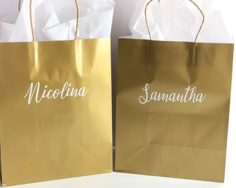 Gold medium gift bags-personalized gift bags-custom gift bags-bridesmaid gift bags-gift bags-gold gift bags-personalized gifts