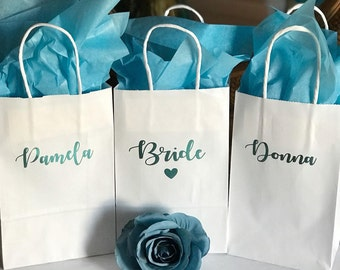 Teal personalized gift bags/bridesmaid gift bags/Personalized Gift bags/Gift bags/bride gift bags/bridesmaid gifts/bridesmaid proposal