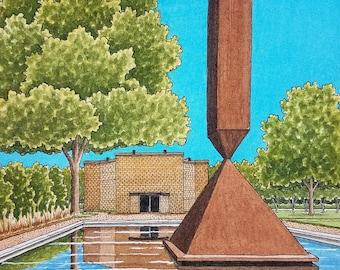 "Rothko Chapel. 8.5"" x 11"". Houston Texas. Watercolor Painting. Art Print. Broken Obelisk. Houston Art. Jim Koehn Art. Streets of Houston"
