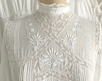 Antique Edwardian Floral Embroidered Blouse