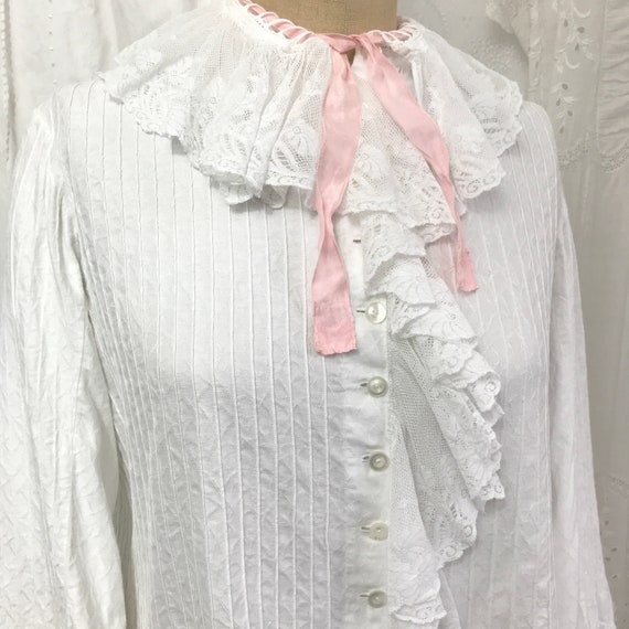 Antique Lace Ruffle Collar Bed Jacket Blouse