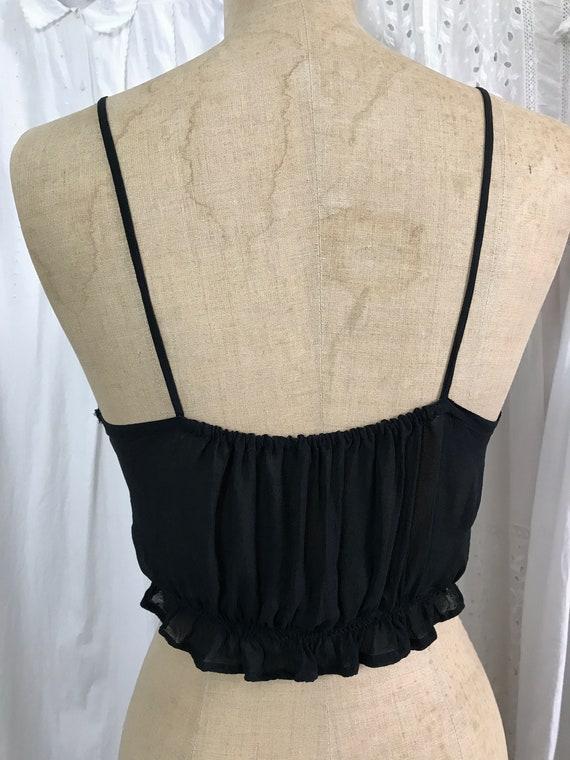 Vintage 1940s Black Crepe Lace Ribbon Camisole - image 4