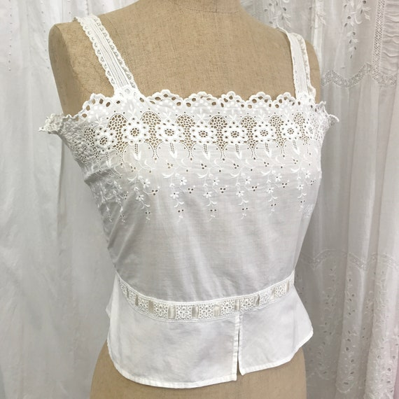 Antique Broderie Anglaise Corset Cover Camisole