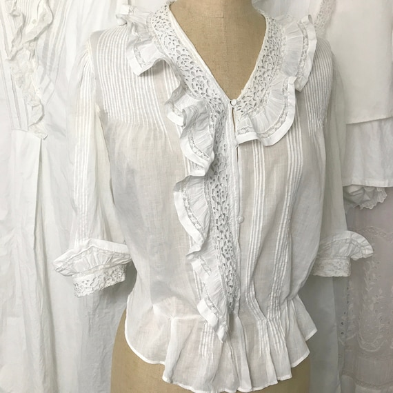 Antique Eyelet Lace Frill Collar Blouse XS/S