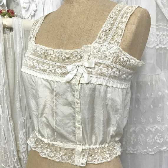 Antique Edwardian Silk & Lace Camisole