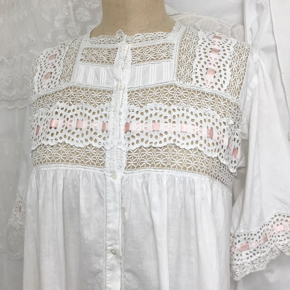 Pretty Antique Eyelet Yoke Trim Nightgown