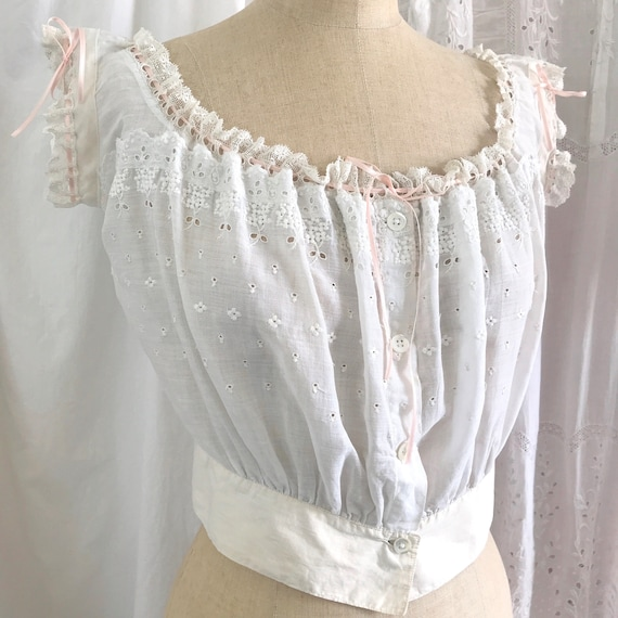 Pretty Antique Broderie Anglaise Corset Cover