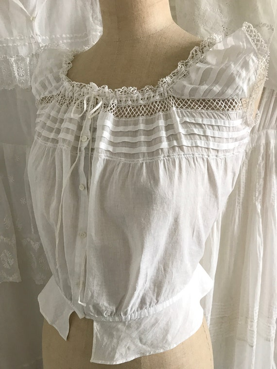 Antique Pleated Yoke Corset Cover